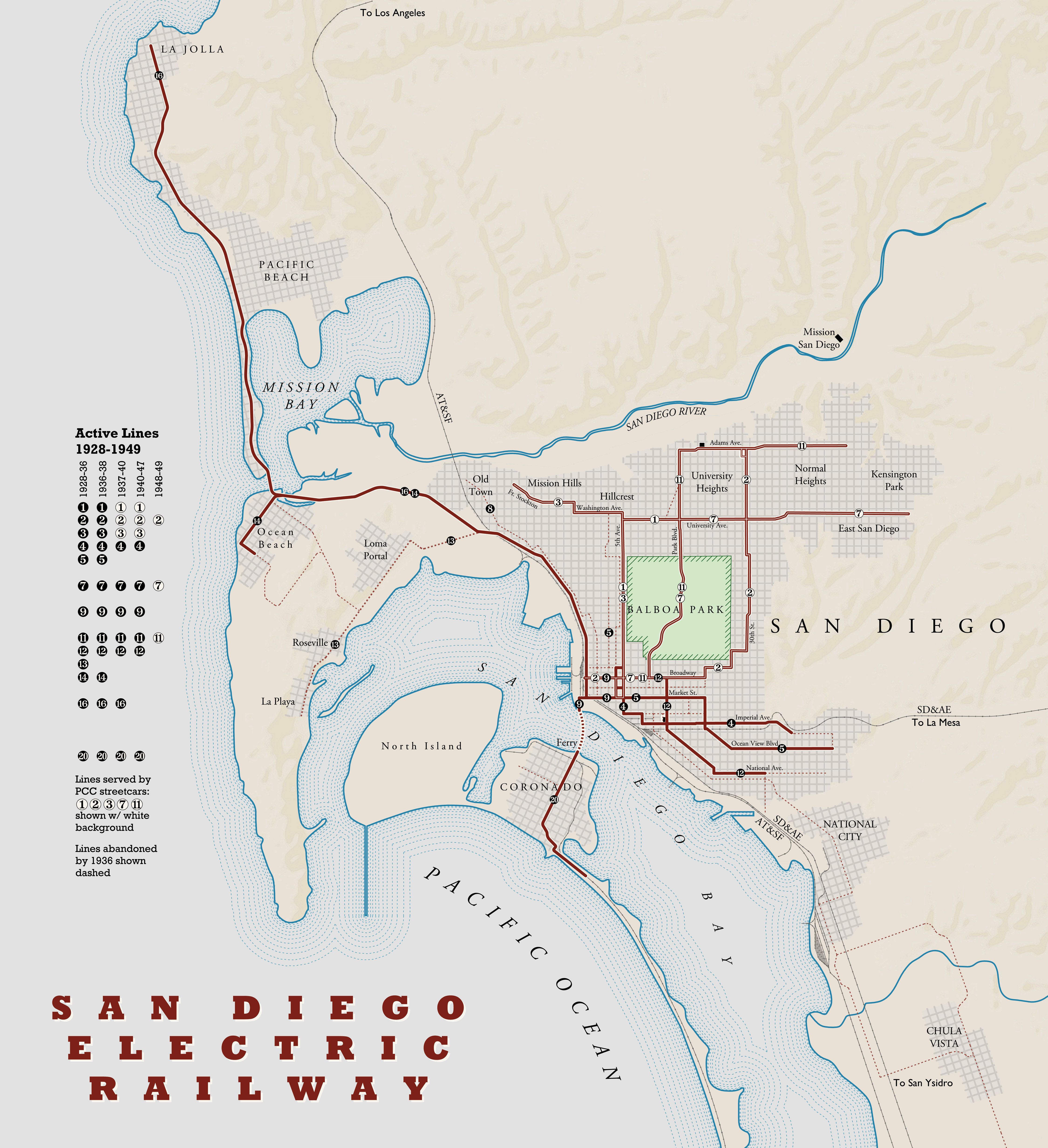 Trams San Francisco Map.A A A San Diego Streetcar Map